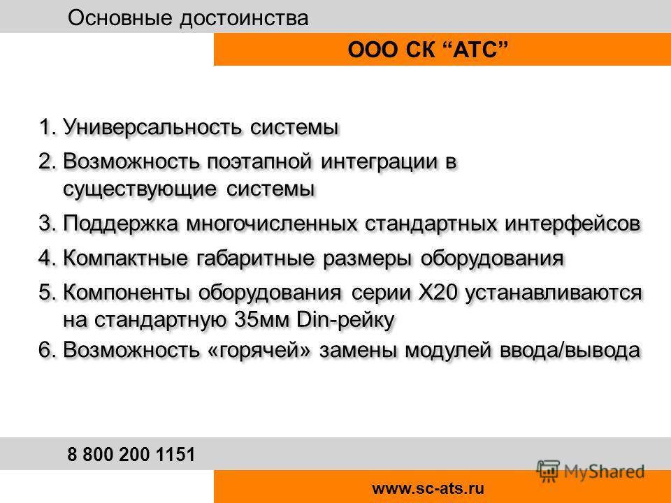 Основные достоинства ООО СК АТС 8 800 200 1151 www.sc-ats.ru 1. Универсальность системы 2. Возможность поэтапной интеграции в существующие системы 2. Возможность поэтапной интеграции в существующие системы 3. Поддержка многочисленных стандартных инте