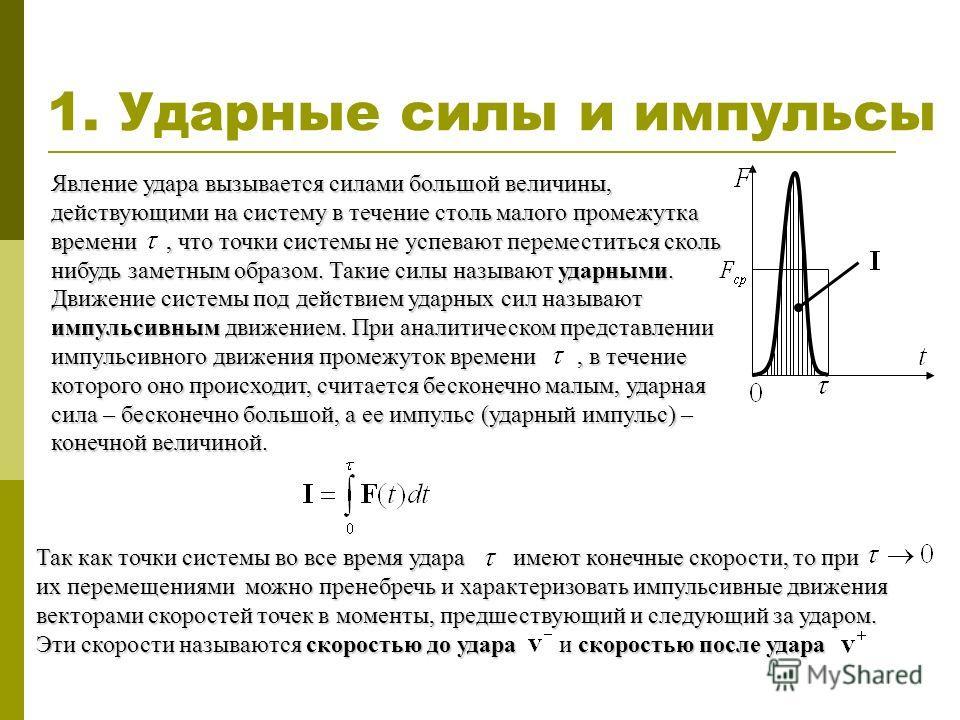 1. Ударные силы и импульсы Явление удара вызывается силами большой величины, действующими на систему в течение столь малого промежутка времени, что точки системы не успевают переместиться сколь нибудь заметным образом. Такие силы называют ударными. Д