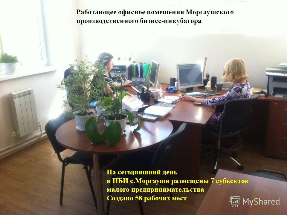 15 Работающее офисное помещения Моргаушского производственного бизнес-инкубатора На сегодняшний день в ПБИ с.Моргауши размещены 7 субъектов малого предпринимательства Создано 58 рабочих мест