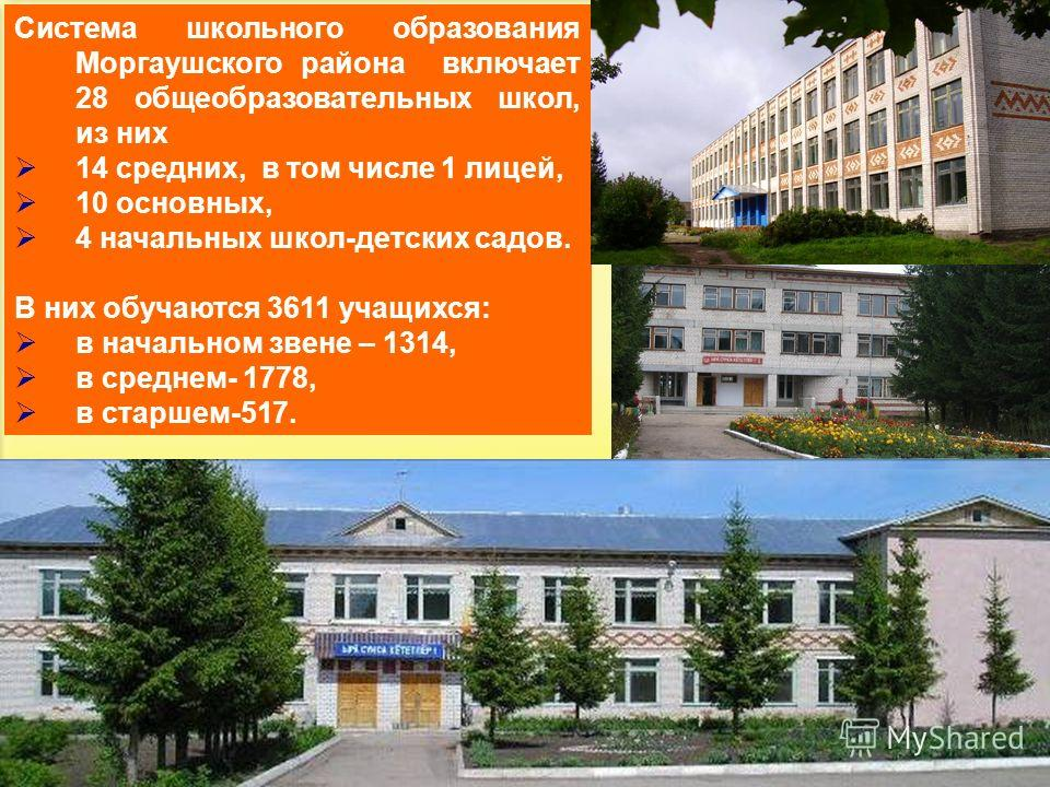 27 Система школьного образования Моргаушского района включает 28 общеобразовательных школ, из них 14 средних, в том числе 1 лицей, 10 основных, 4 начальных школ-детских садов. В них обучаются 3611 учащихся: в начальном звене – 1314, в среднем- 1778,