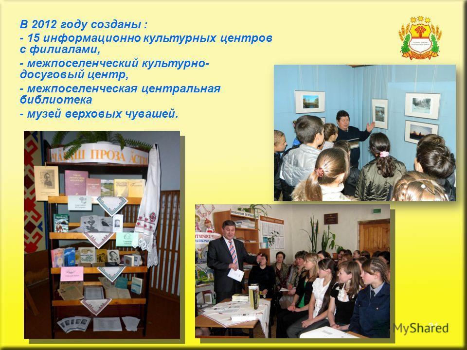 31 В 2012 году созданы : - 15 информационно культурных центров с филиалами, - межпоселенческий культурно- досуговый центр, - межпоселенческая центральная библиотека - музей верховых чувашей.