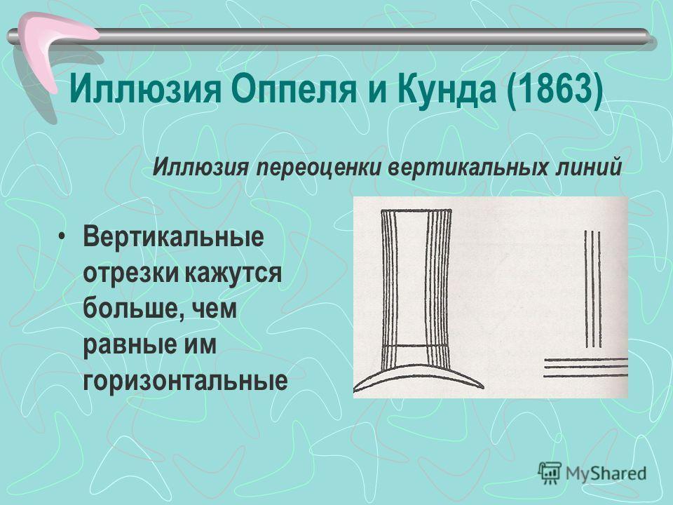 Иллюзия Оппеля и Кунда (1863) Вертикальные отрезки кажутся больше, чем равные им горизонтальные Иллюзия переоценки вертикальных линий