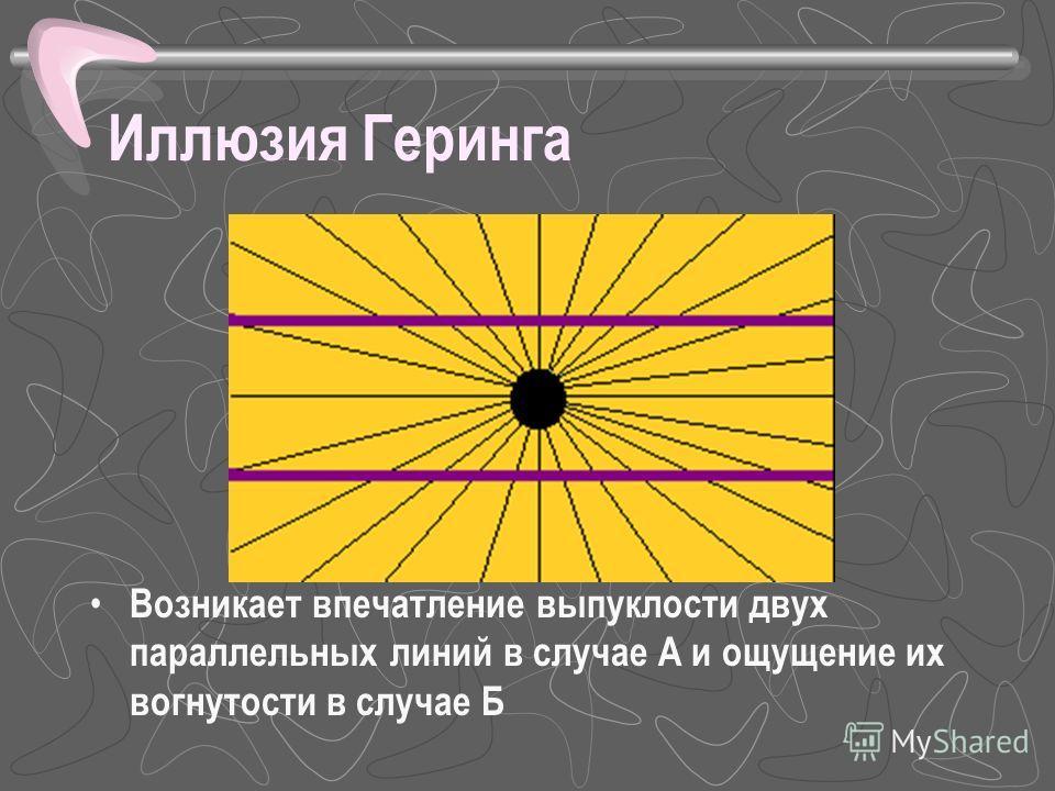 Иллюзия Геринга Возникает впечатление выпуклости двух параллельных линий в случае А и ощущение их вогнутости в случае Б