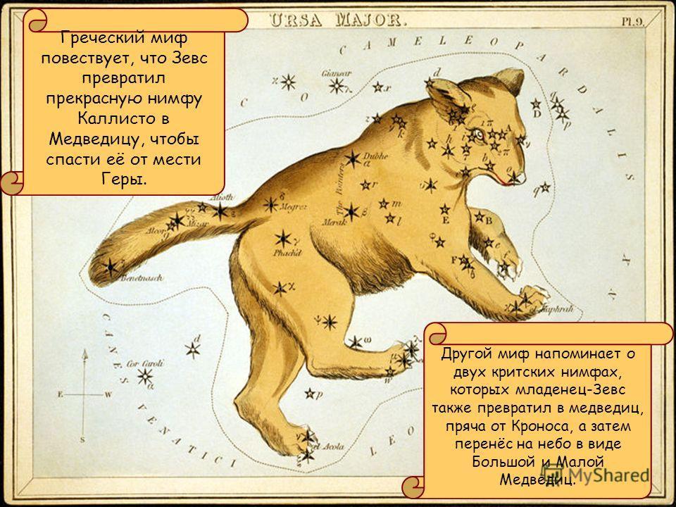 Греческий миф повествует, что Зевс превратил прекрасную нимфу Каллисто в Медведицу, чтобы спасти её от мести Геры. Другой миф напоминает о двух критских нимфах, которых младенец-Зевс также превратил в медведиц, пряча от Кроноса, а затем перенёс на не