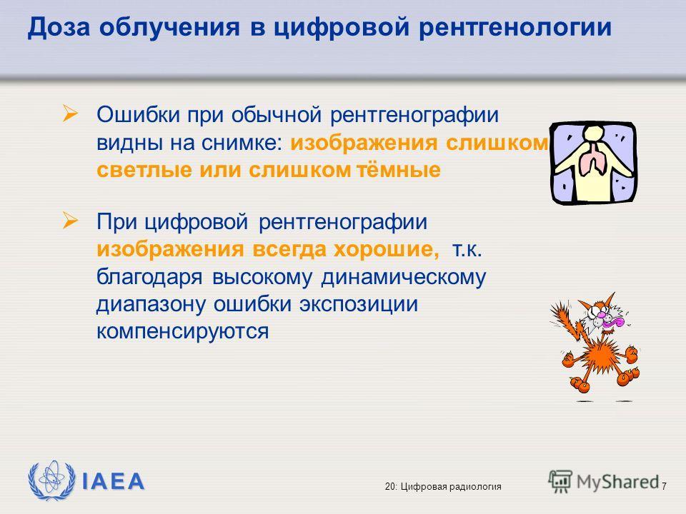 IAEA 20: Цифровая радиология7 Доза облучения в цифровой рентгенологии Ошибки при обычной рентгенографии видны на снимке: изображения слишком светлые или слишком тёмные При цифровой рентгенографии изображения всегда хорошие, т.к. благодаря высокому ди