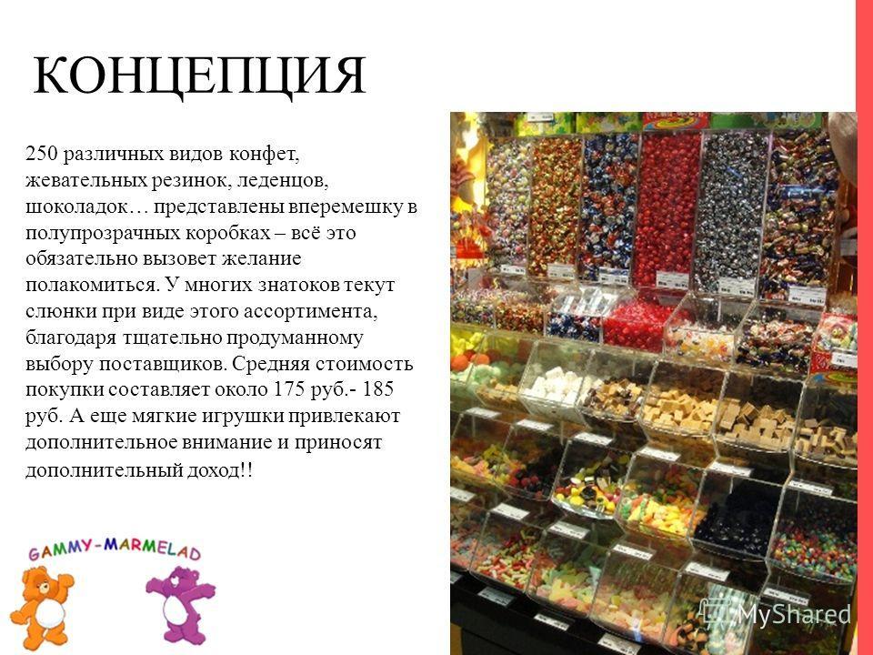 250 различных видов конфет, жевательных резинок, леденцов, шоколадок… представлены вперемешку в полупрозрачных коробках – всё это обязательно вызовет желание полакомиться. У многих знатоков текут слюнки при виде этого ассортимента, благодаря тщательн