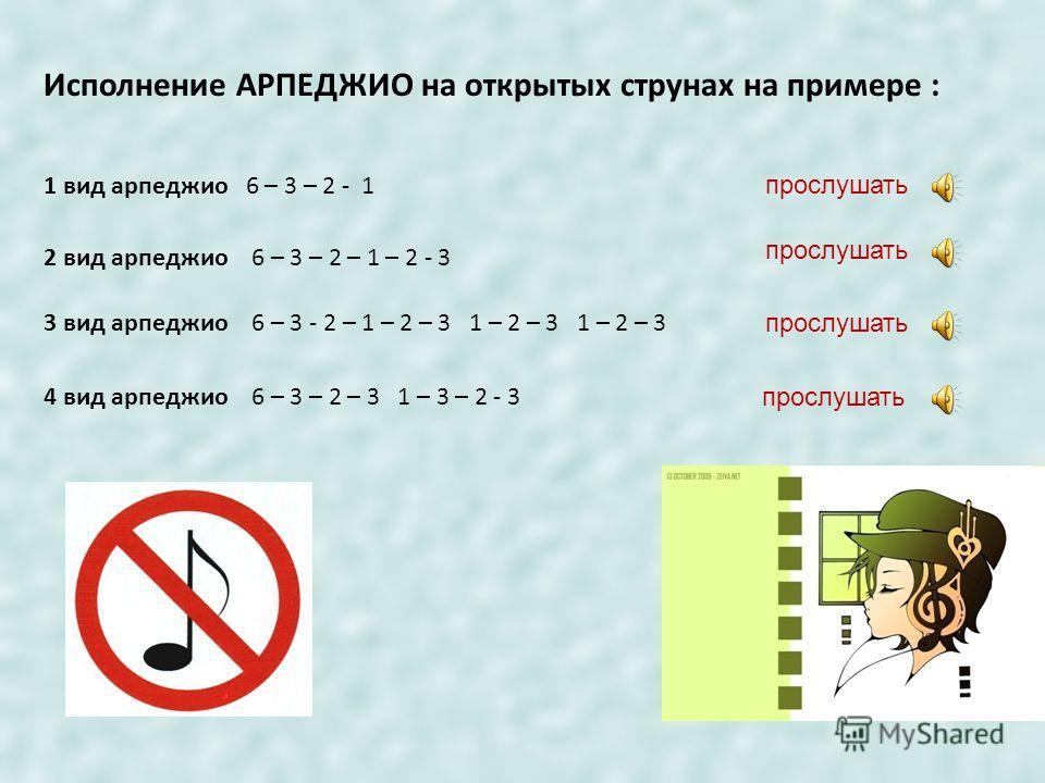 Игра большим пальцем: Пока Вы не вполне освоили ноты, запишем исполнение данного вида арпеджио по такой схеме (номер струны): 1) 6 – 6 – 6 - 6 2) 5 – 5 – 5 - 5 3) 4 – 4 – 4 - 4 прослушать Поупражняйтесь в звукоизвлечении большим пальцем приёмом АПОЯН