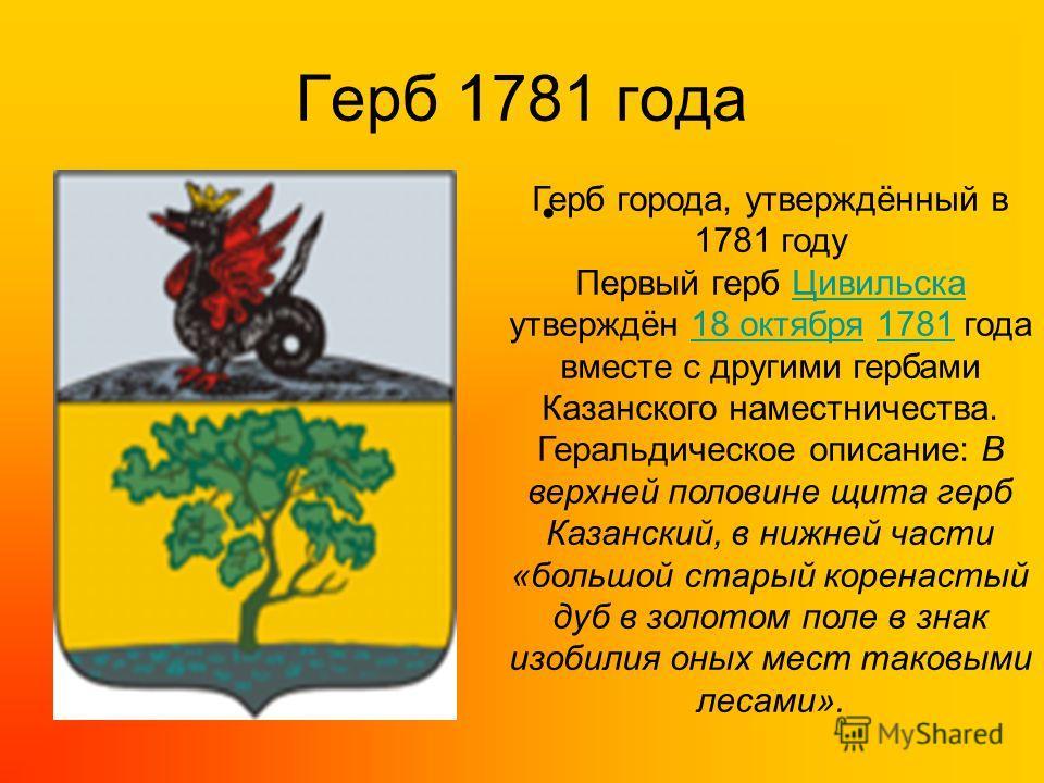 Герб 1781 года Герб города, утверждённый в 1781 году Первый герб Цивильска утверждён 18 октября 1781 года вместе с другими гербами Казанского наместничества.Цивильска18 октября1781 Геральдическое описание: В верхней половине щита герб Казанский, в ни