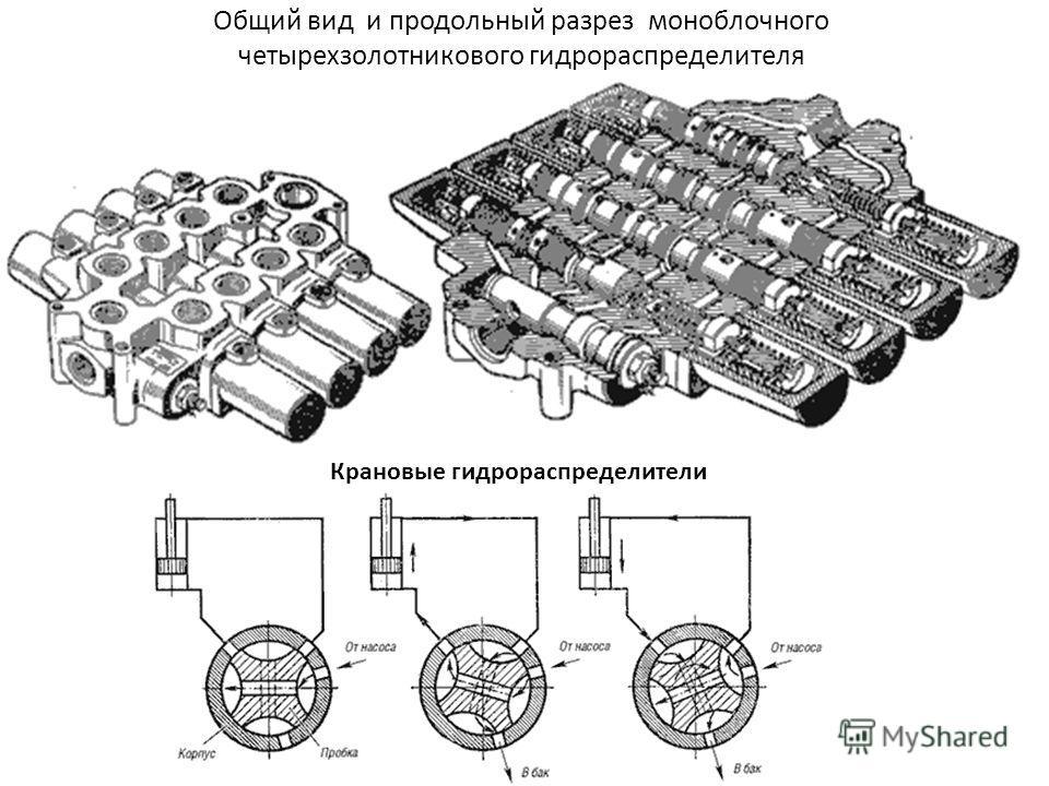 Общий вид и продольный разрез моноблочного четырехзолотникового гидрораспределителя Крановые гидрораспределители