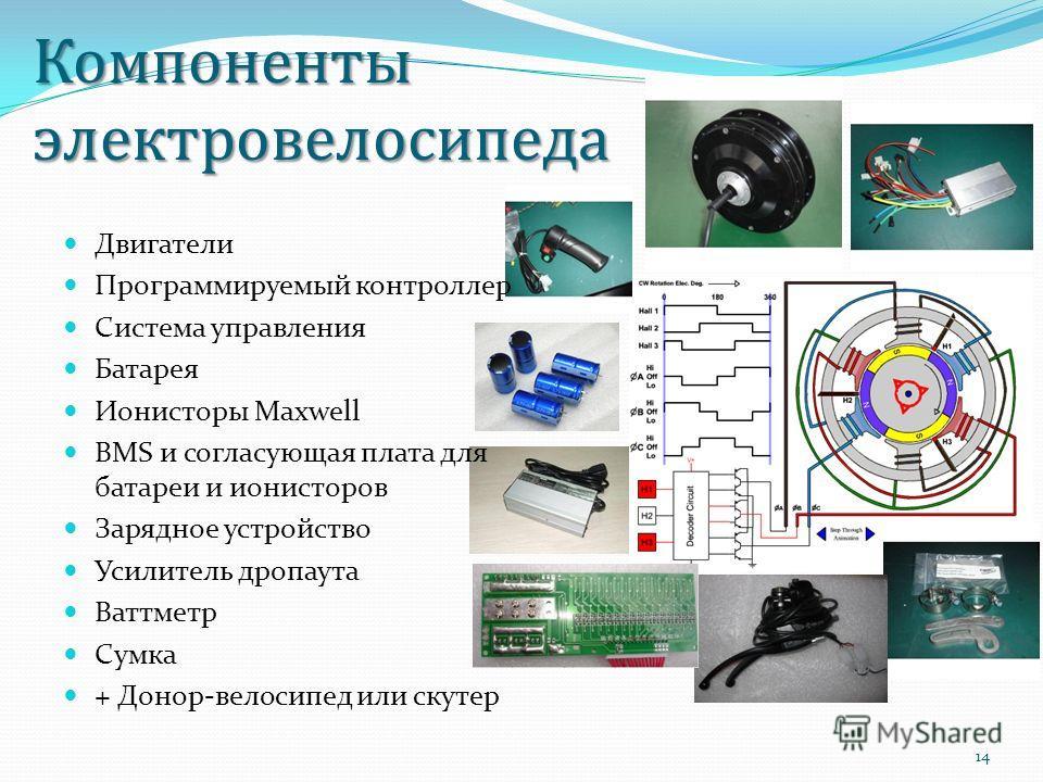 Компоненты электровелосипеда Двигатели Программируемый контроллер Система управления Батарея Ионисторы Maxwell BMS и согласующая плата для батареи и ионисторов Зарядное устройство Усилитель дропаута Ваттметр Сумка + Донор-велосипед или скутер 14
