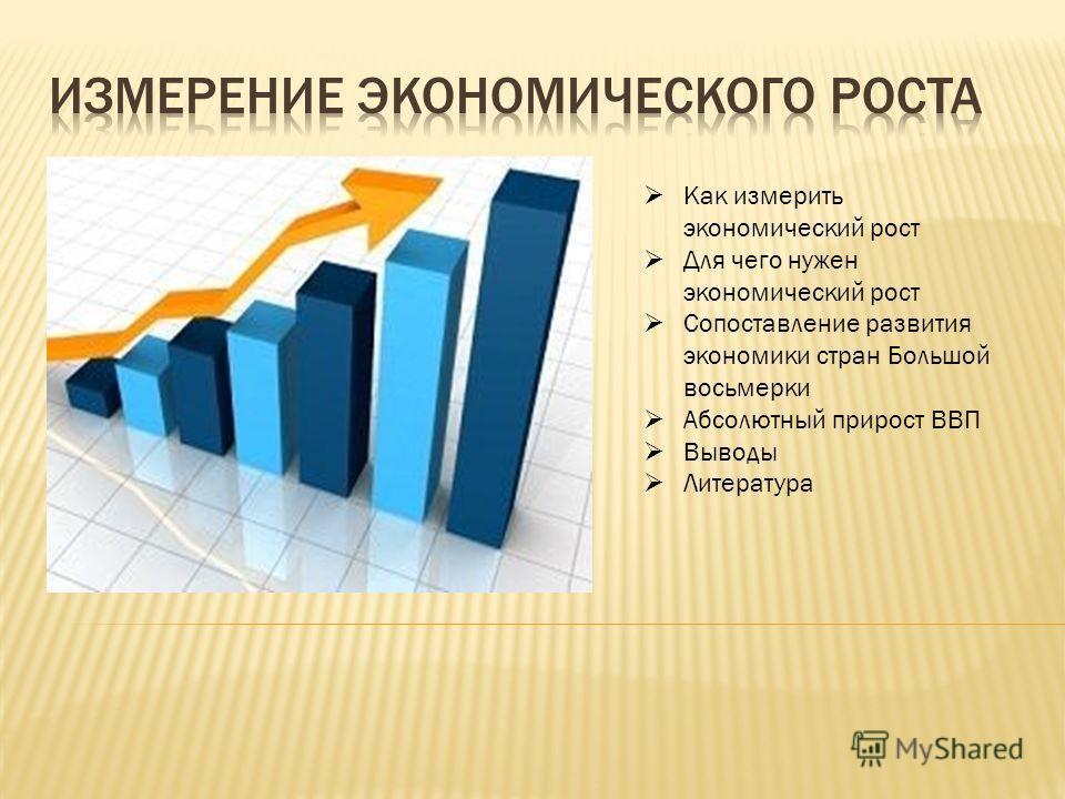 Как измерить экономический рост Для чего нужен экономический рост Сопоставление развития экономики стран Большой восьмерки Абсолютный прирост ВВП Выводы Литература