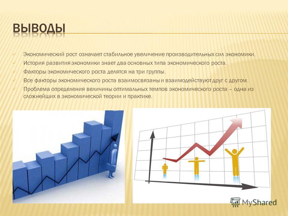 Экономический рост означает стабильное увеличение производительных сил экономики. История развития экономики знает два основных типа экономического роста. Факторы экономического роста делятся на три группы. Все факторы экономического роста взаимосвяз