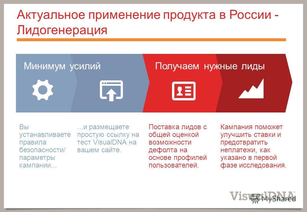 Актуальное применение продукта в России - Лидогенерация Минимум усилийПолучаем нужные лиды Вы устанавливаете правила безопасности/ параметры кампании......и размещаете простую ссылку на тест VisualDNA на вашем сайте. Поставка лидов с общей оценкой во