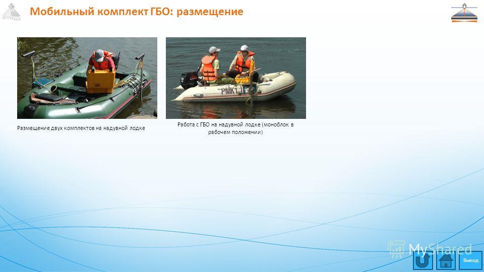 Мобильный комплект ГБО: размещение Размещение двух комплектов на надувной лодке Работа с ГБО на надувной лодке (моноблок в рабочем положении) Выход