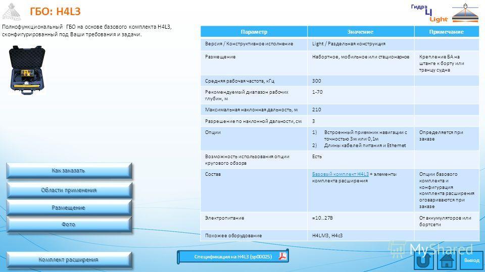 ГБО: H4L3 Комплект расширения Комплект расширения Комплект расширения Комплект расширения Спецификация на H4L3 (sp00025) Области применения Области применения Области применения Области применения ПараметрЗначениеПримечание Версия / Конструктивное ис