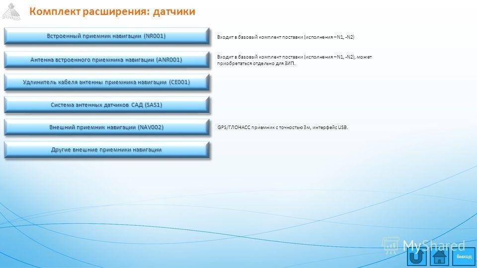 Комплект расширения: датчики Встроенный приемник навигации (NR001) Встроенный приемник навигации (NR001) Встроенный приемник навигации (NR001) Встроенный приемник навигации (NR001) Антенна встроенного приемника навигации (ANR001) Антенна встроенного