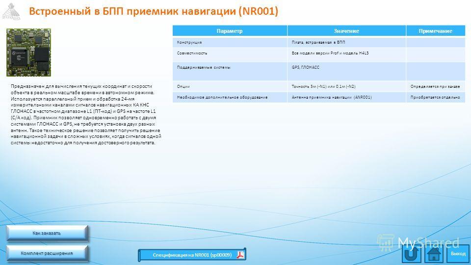 Встроенный в БПП приемник навигации (NR001) Комплект расширения Комплект расширения Комплект расширения Комплект расширения Спецификация на NR001 (sp00009) ПараметрЗначениеПримечание КонструкцияПлата, встраиваемая в БПП СовместимостьВсе модели версии