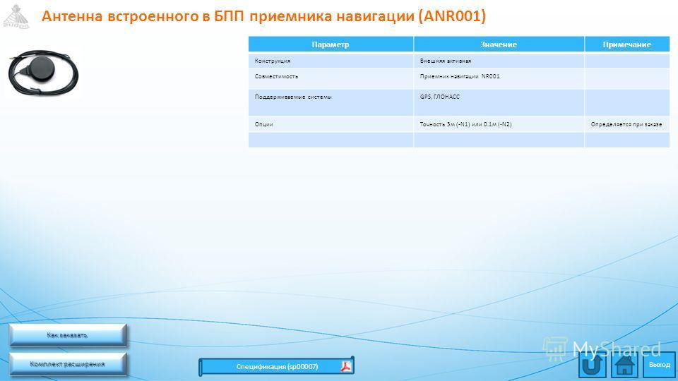 Антенна встроенного в БПП приемника навигации (ANR001) Комплект расширения Комплект расширения Комплект расширения Комплект расширения Спецификация (sp00007) ПараметрЗначениеПримечание КонструкцияВнешняя активная СовместимостьПриемник навигации NR001