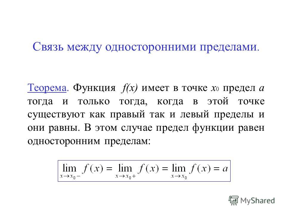 Связь между односторонними пределами. Теорема. Функция f(x) имеет в точке х 0 предел а тогда и только тогда, когда в этой точке существуют как правый так и левый пределы и они равны. В этом случае предел функции равен односторонним пределам: