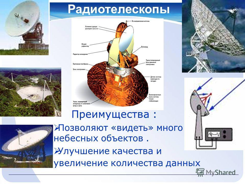 Радиотелескопы Преимущества : Позволяют «видеть» много небесных объектов. Улучшение качества и увеличение количества данных