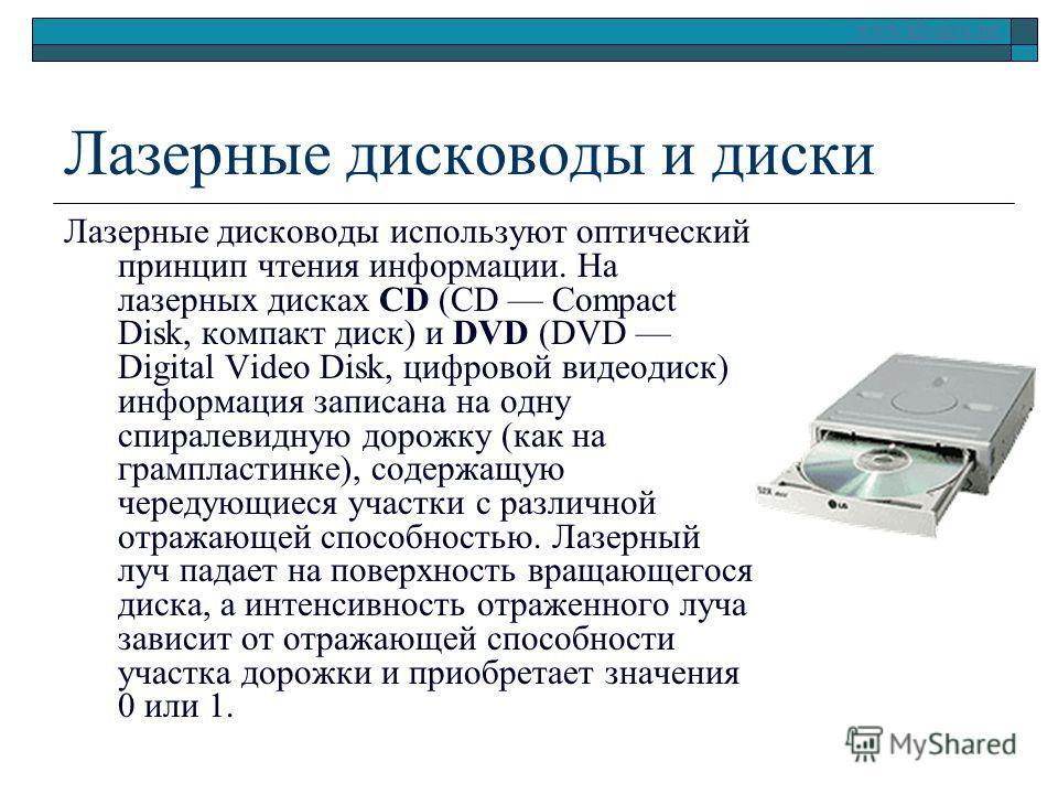 www.klyaksa.net Лазерные дисководы и диски Лазерные дисководы используют оптический принцип чтения информации. На лазерных дисках CD (CD Compact Disk, компакт диск) и DVD (DVD Digital Video Disk, цифровой видеодиск) информация записана на одну спирал