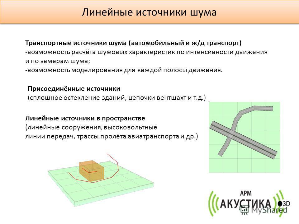 Линейные источники шума Транспортные источники шума (автомобильный и ж/д транспорт) -возможность расчёта шумовых характеристик по интенсивности движения и по замерам шума; -возможность моделирования для каждой полосы движения. Присоединённые источник