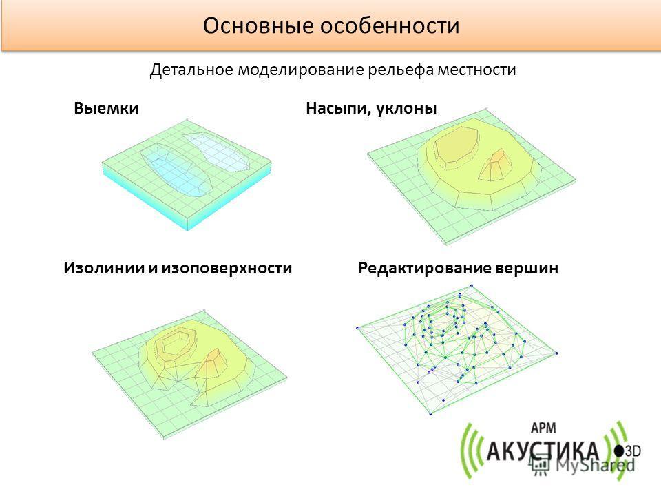 ВыемкиНасыпи, уклоны Изолинии и изоповерхностиРедактирование вершин Основные особенности Детальное моделирование рельефа местности