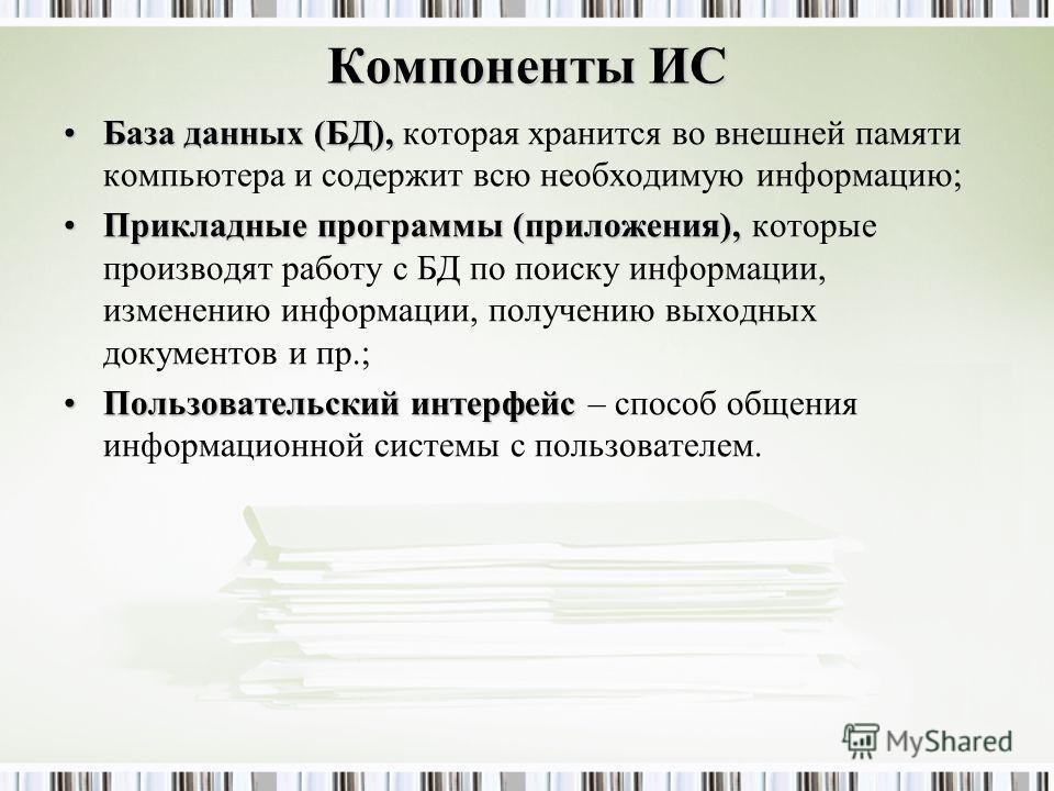 Компоненты ИС База данных (БД),База данных (БД), которая хранится во внешней памяти компьютера и содержит всю необходимую информацию; Прикладные программы (приложения),Прикладные программы (приложения), которые производят работу с БД по поиску информ