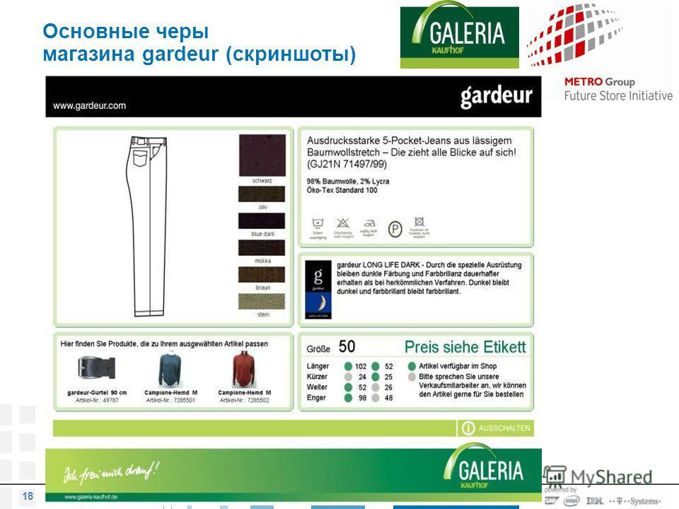 © METRO AG 2007 18 Основные черы магазина gardeur (скриншоты)