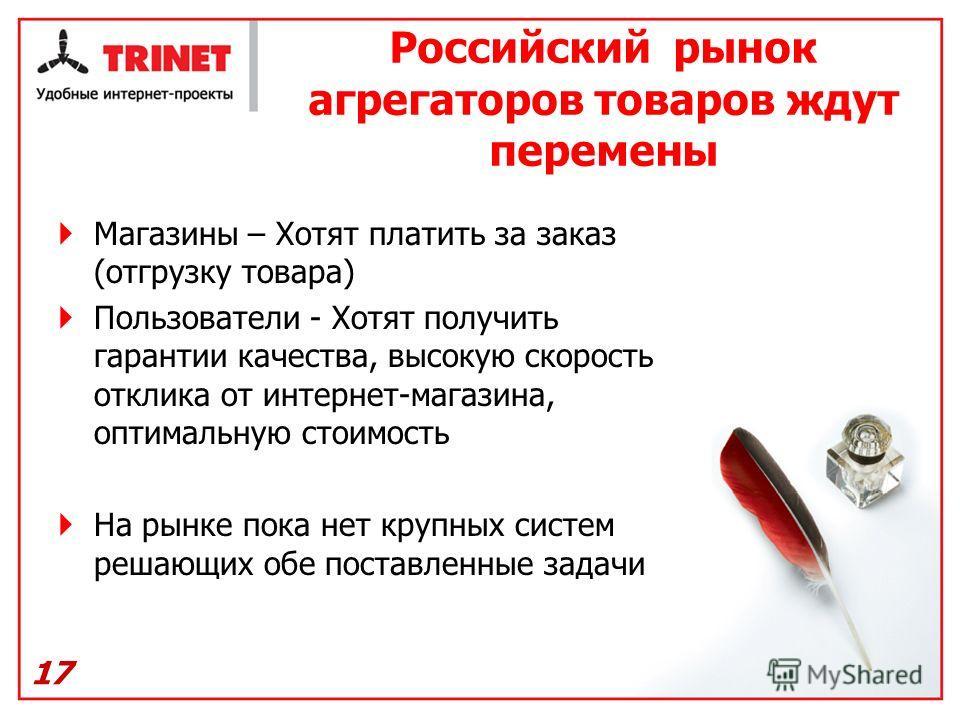 Российский рынок агрегаторов товаров ждут перемены Магазины – Хотят платить за заказ (отгрузку товара) Пользователи - Хотят получить гарантии качества, высокую скорость отклика от интернет-магазина, оптимальную стоимость На рынке пока нет крупных сис