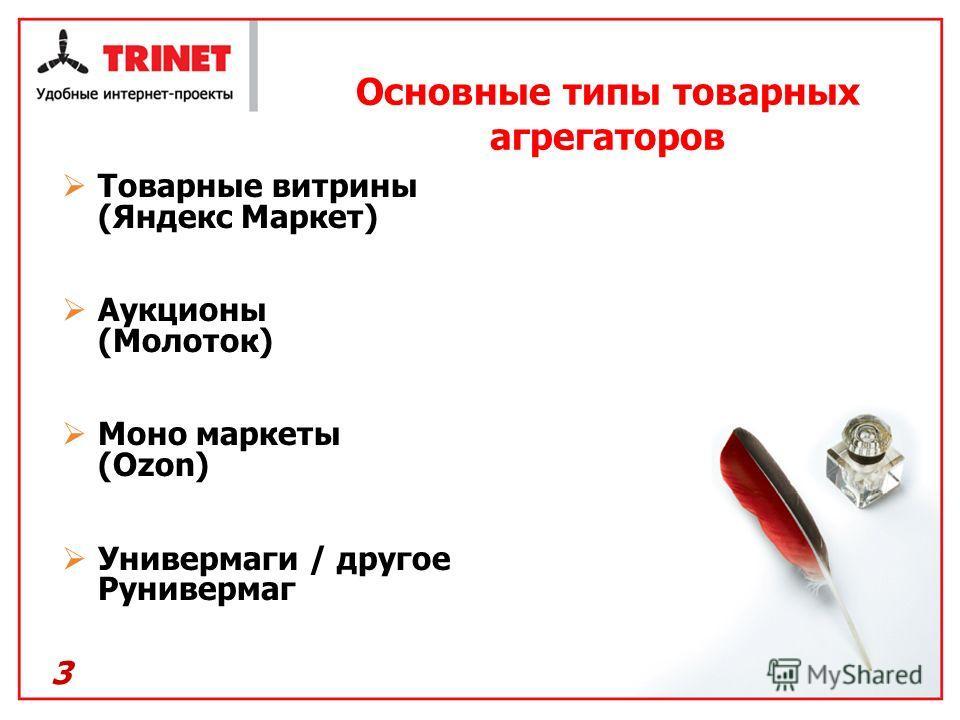 3 Основные типы товарных агрегаторов Товарные витрины (Яндекс Маркет) Аукционы (Молоток) Моно маркеты (Ozon) Универмаги / другое Рунивермаг