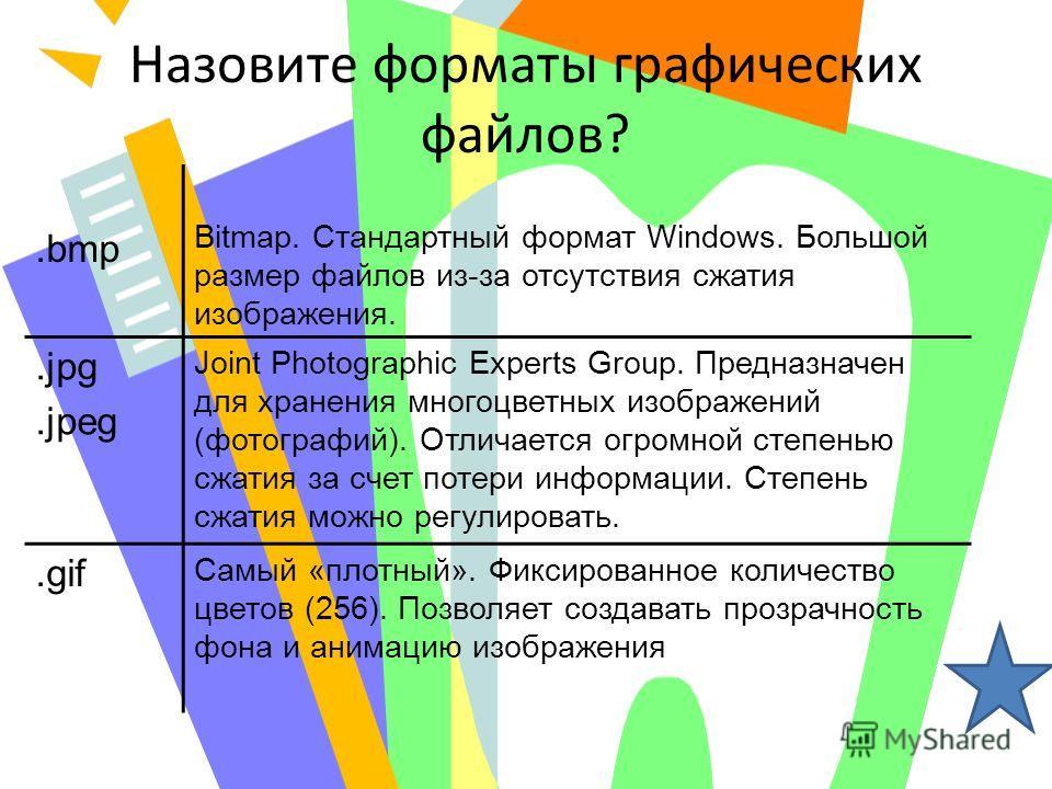 Назовите форматы графических файлов?.bmp Bitmap. Стандартный формат Windows. Большой размер файлов из-за отсутствия сжатия изображения..jpg.jpeg Joint Photographic Experts Group. Предназначен для хранения многоцветных изображений (фотографий). Отлича
