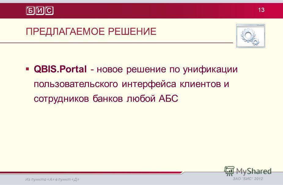 ПРЕДЛАГАЕМОЕ РЕШЕНИЕ 13 QBIS.Portal - новое решение по унификации пользовательского интерфейса клиентов и сотрудников банков любой АБС Из пункта «А» в пункт «Д»