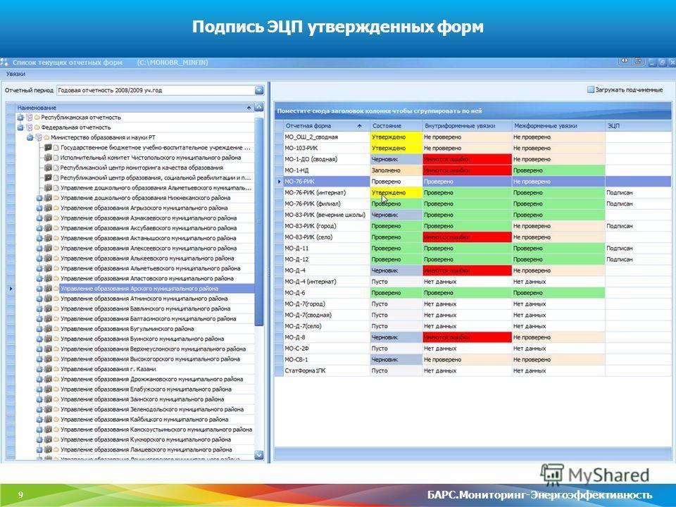 9 Подпись ЭЦП утвержденных форм БАРС.Мониторинг-Энергоэффективность