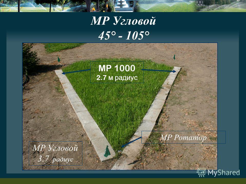 MP Угловой 45° - 105° MP Угловой 3.7 радиус MP 1000 2.7 м радиус MP Ротатор