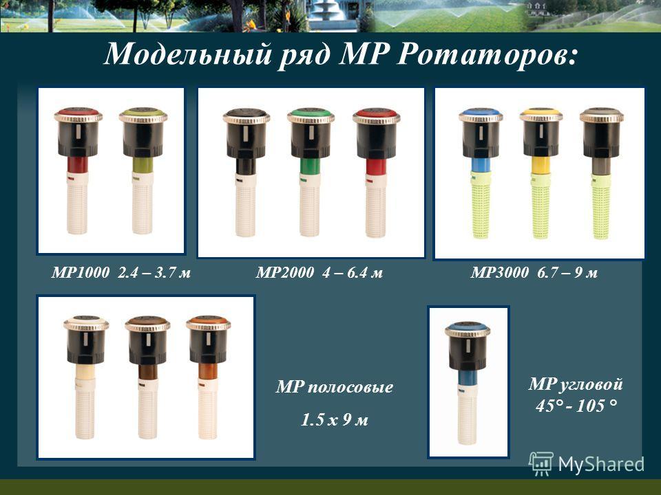 MP1000 2.4 – 3.7 мMP2000 4 – 6.4 мMP3000 6.7 – 9 м MP угловой 45° - 105 ° MP полосовые 1.5 x 9 м Модельный ряд MP Ротаторов: