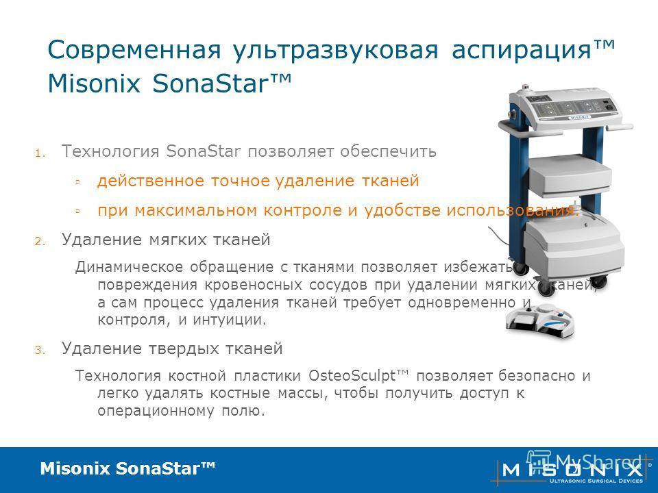 Misonix SonaStar Современная ультразвуковая аспирация 1. Технология SonaStar позволяет обеспечить действенное точное удаление тканей при максимальном контроле и удобстве использования. 2. Удаление мягких тканей Динамическое обращение с тканями позвол