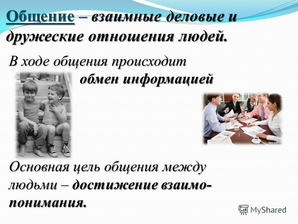 Общение – взаимные деловые и дружеские отношения людей. В ходе общения происходит обмен информацией обмен информацией Основная цель общения между людьми – достижение взаимо- понимания.