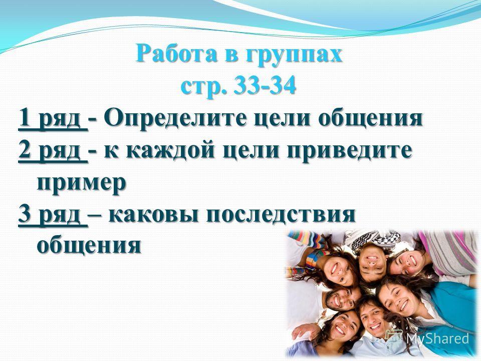 Работа в группах стр. 33-34 1 ряд - Определите цели общения 2 ряд - к каждой цели приведите пример 3 ряд – каковы последствия общения