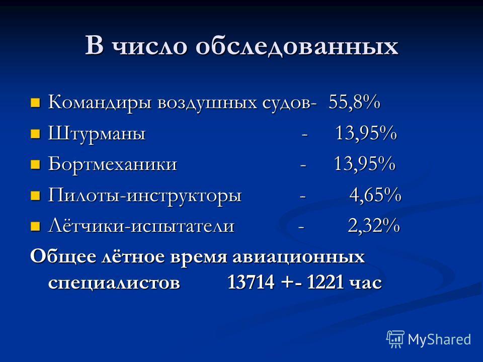 В число обследованных Командиры воздушных судов- 55,8% Командиры воздушных судов- 55,8% Штурманы - 13,95% Штурманы - 13,95% Бортмеханики - 13,95% Бортмеханики - 13,95% Пилоты-инструкторы - 4,65% Пилоты-инструкторы - 4,65% Лётчики-испытатели - 2,32% Л