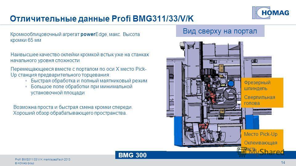 © HOMAG Group BMG 300 Profi BMG311/33/V/K marktspezifisch 2013 14 Кромкооблицовочный агрегат powerEdge, макс. Высота кромки 65 мм Наивысшее качество оклейки кромкой встык уже на станках начального уровня сложности Перемещающееся вместе с порталом по
