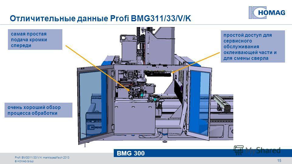 © HOMAG Group BMG 300 Profi BMG311/33/V/K marktspezifisch 2013 15 самая простая подача кромки спереди очень хороший обзор процесса обработки простой доступ для сервисного обслуживания оклеивающей части и для смены сверла Отличительные данные Profi BM