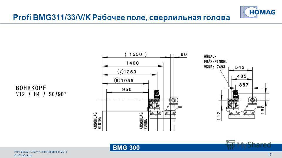 © HOMAG Group BMG 300 Profi BMG311/33/V/K marktspezifisch 2013 17 Profi BMG311/33/V/K Рабочее поле, сверлильная голова