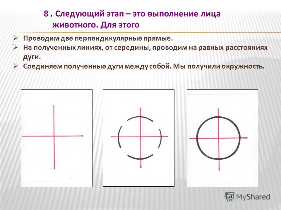Проводим две перпендикулярные прямые. На полученных линиях, от середины, проводим на равных расстояниях дуги. Соединяем полученные дуги между собой. Мы получили окружность. 8. Следующий этап – это выполнение лица животного. Для этого