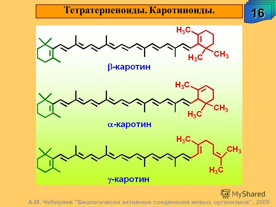 Тетратерпеноиды. Каротиноиды. 16161616