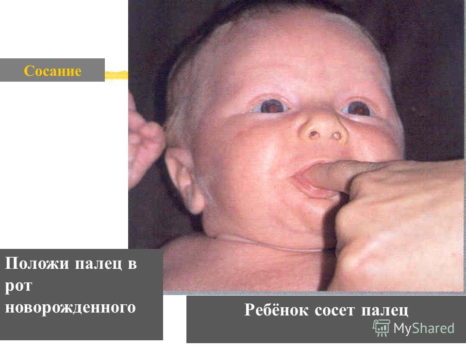 Сосание Положи палец в рот новорожденного Ребёнок сосет палец