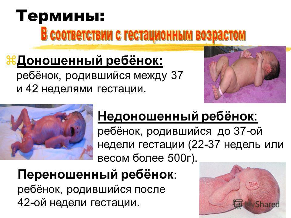 Термины: Доношенный ребёнок: ребёнок, родившийся между 37 и 42 неделями гестации. Недоношенный ребёнок: ребёнок, родившийся до 37-ой недели гестации (22-37 недель или весом более 500г). Переношенный ребёнок : ребёнок, родившийся после 42-ой недели ге