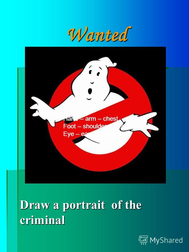 Wanted Draw a portrait of the criminal Hand – arm – chest Foot – shoulders – leg Eye – ear – stomach
