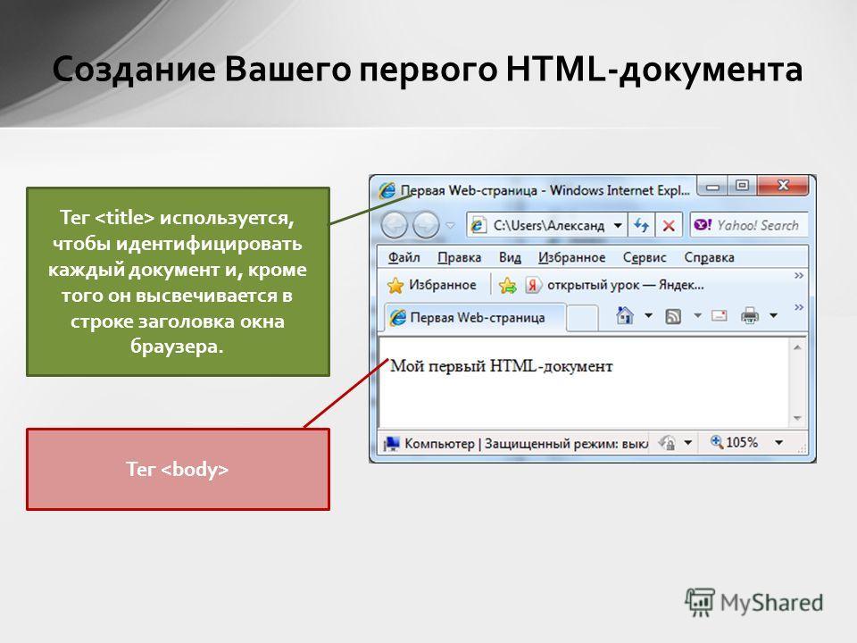 Создание Вашего первого HTML-документа Тег используется, чтобы идентифицировать каждый документ и, кроме того он высвечивается в строке заголовка окна браузера. Тег