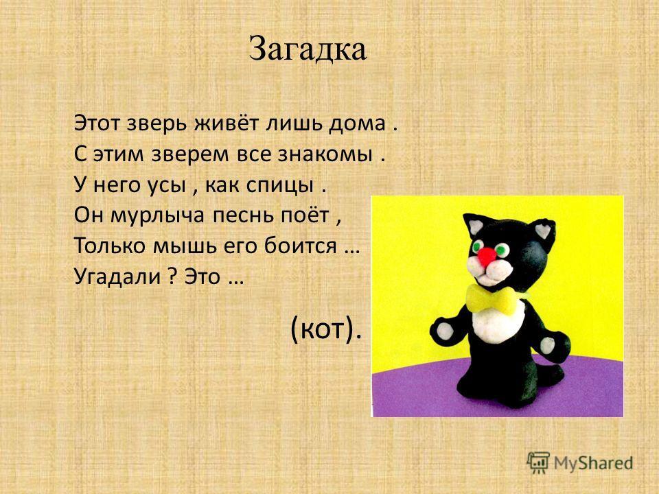 Загадка Этот зверь живёт лишь дома. С этим зверем все знакомы. У него усы, как спицы. Он мурлыча песнь поёт, Только мышь его боится … Угадали ? Это … (кот).